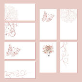 Set of business cards, floral ornament for your design — Cтоковый вектор