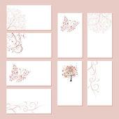Uppsättning av visitkort, blommig prydnad för din design — Stockvektor