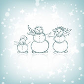 Family of snowmen, christmas sketch for your design — Stock Vector