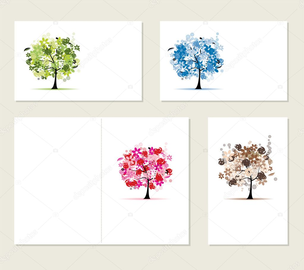 Set of business cards, floral trees for your design  Stockvectorbeeld #4408392