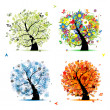 Four seasons - spring, summer, autumn, winter. Art tree beautiful for your — Stock Vector #4642871