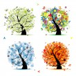 Four seasons - spring, summer, autumn, winter. Art tree beautiful for your — 图库矢量图片