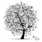 Digital tree silhouette, numbers — Stock Vector