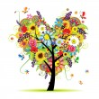 Summer floral tree, heart shape — Imagen vectorial