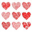 Valentine hearts red for your design — Stock Vector
