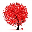 Valentine tree, love, leaf from hearts — Stock Vector #4642965