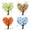 Four seasons - spring, summer, autumn, winter. Art tree heart shape for you — Imagens vectoriais em stock