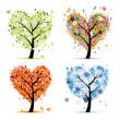 Four seasons - spring, summer, autumn, winter. Art tree heart shape for you — Stock Vector