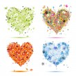 Four seasons - spring, summer, autumn, winter. Art hearts beautiful for you - Векторная иллюстрация