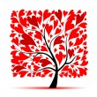 Valentine tree, love, leaf from hearts — Image vectorielle