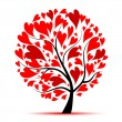 Valentine tree, love, leaf from hearts — ストックベクター #4642990