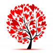 Valentine tree, love, leaf from hearts — Stock Vector