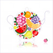 Fruit drink, teapot on black for your design — Stock Vector