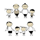 Happy family together - parents, grandparents and children — Stock Vector