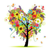Summer floral tree, heart shape — Vector de stock