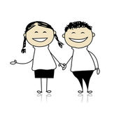 Funny couple laugh - boy and girl together, illustration for your design — Stock vektor