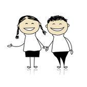 搞笑情侣笑-男孩和女孩在一起,图为您的设计 — 图库矢量图片