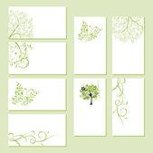 Kartvizit, çiçek süsleme, tasarım kümesi — Stok Vektör