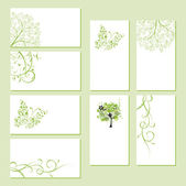 Set of business cards, floral ornament for your design — Stok Vektör