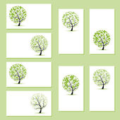 Set of business cards, floral trees for your design — Vecteur