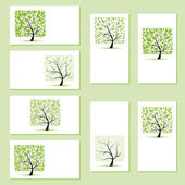 Set of business cards, floral trees for your design — Stok Vektör