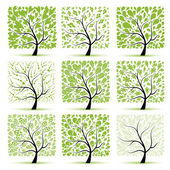 Art tree collection for your design — Stock Vector