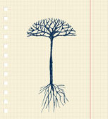 Sketch tree with roots for your design — Stock Vector