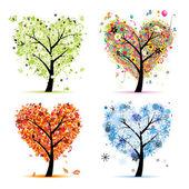 Four seasons - spring, summer, autumn, winter. Art tree heart shape for you — Stock Vector