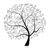 Art tree beautiful, black silhouette for your design — Stock Vector