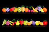 Frutas de energía. colección vector para su diseño — Vector de stock