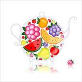Fruit drink, teapot on black for your design — Stock Vector