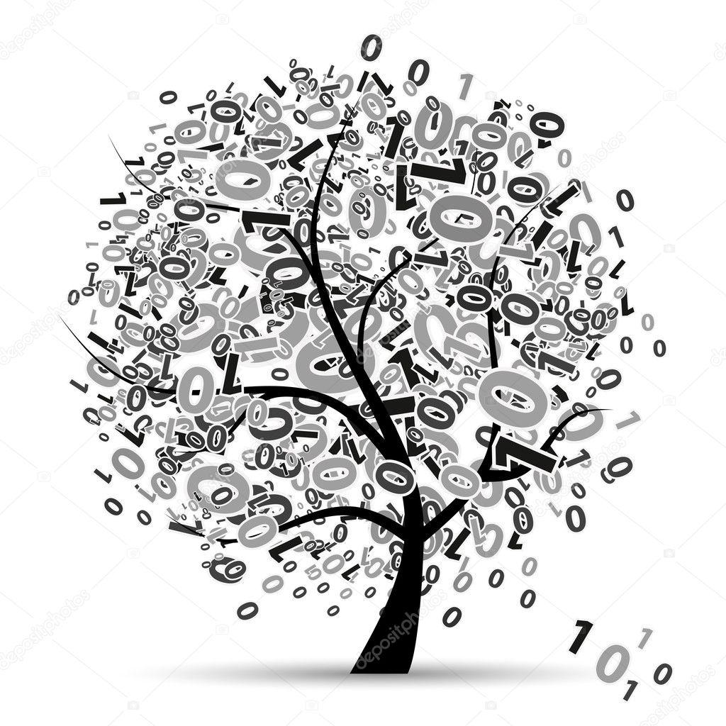 digital tree silhouette  numbers  u2014 stock vector