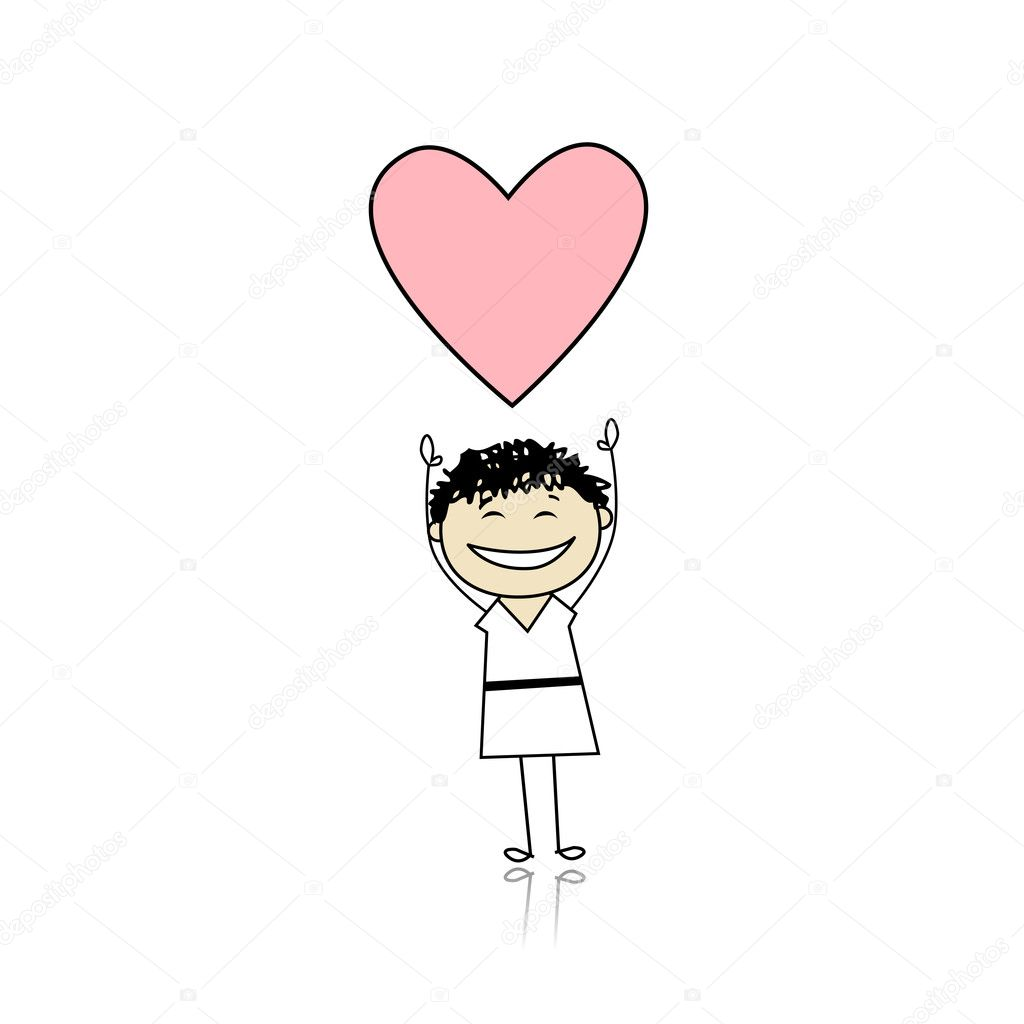 Saint valentine day - cute girl holding heart — Stock Vector #4642921