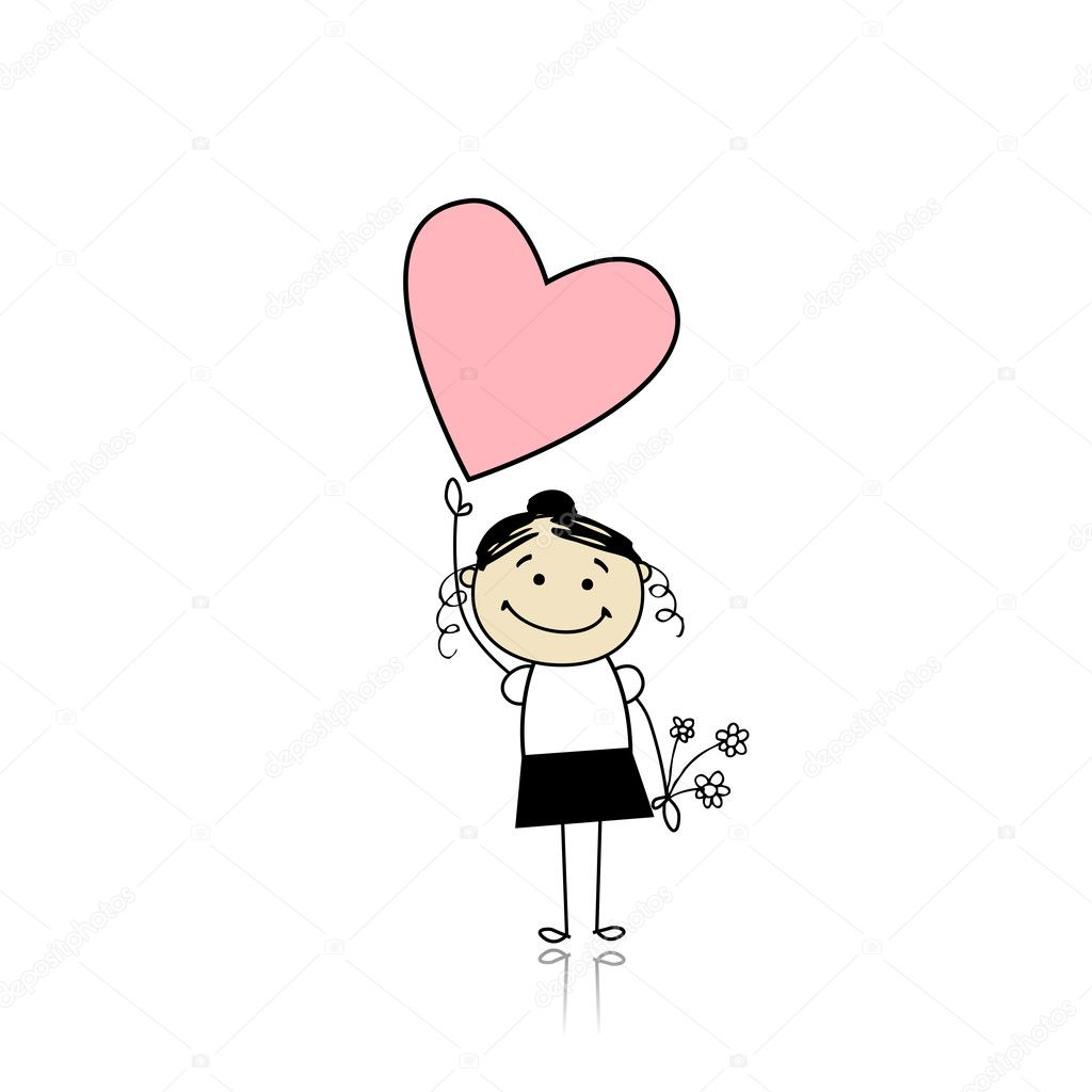 Saint valentine day - cute girl holding heart — Stock Vector #4642923