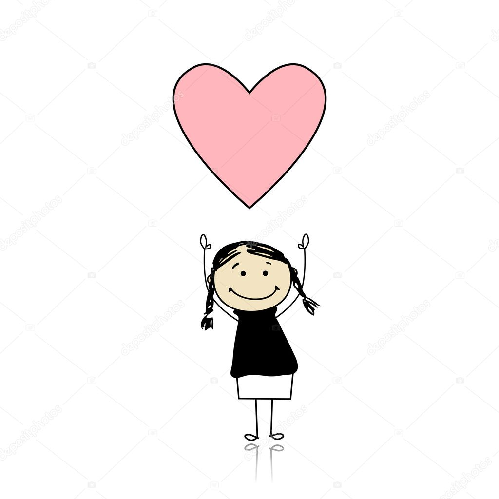 Saint valentine day - cute girl holding heart — Stock Vector #4642925