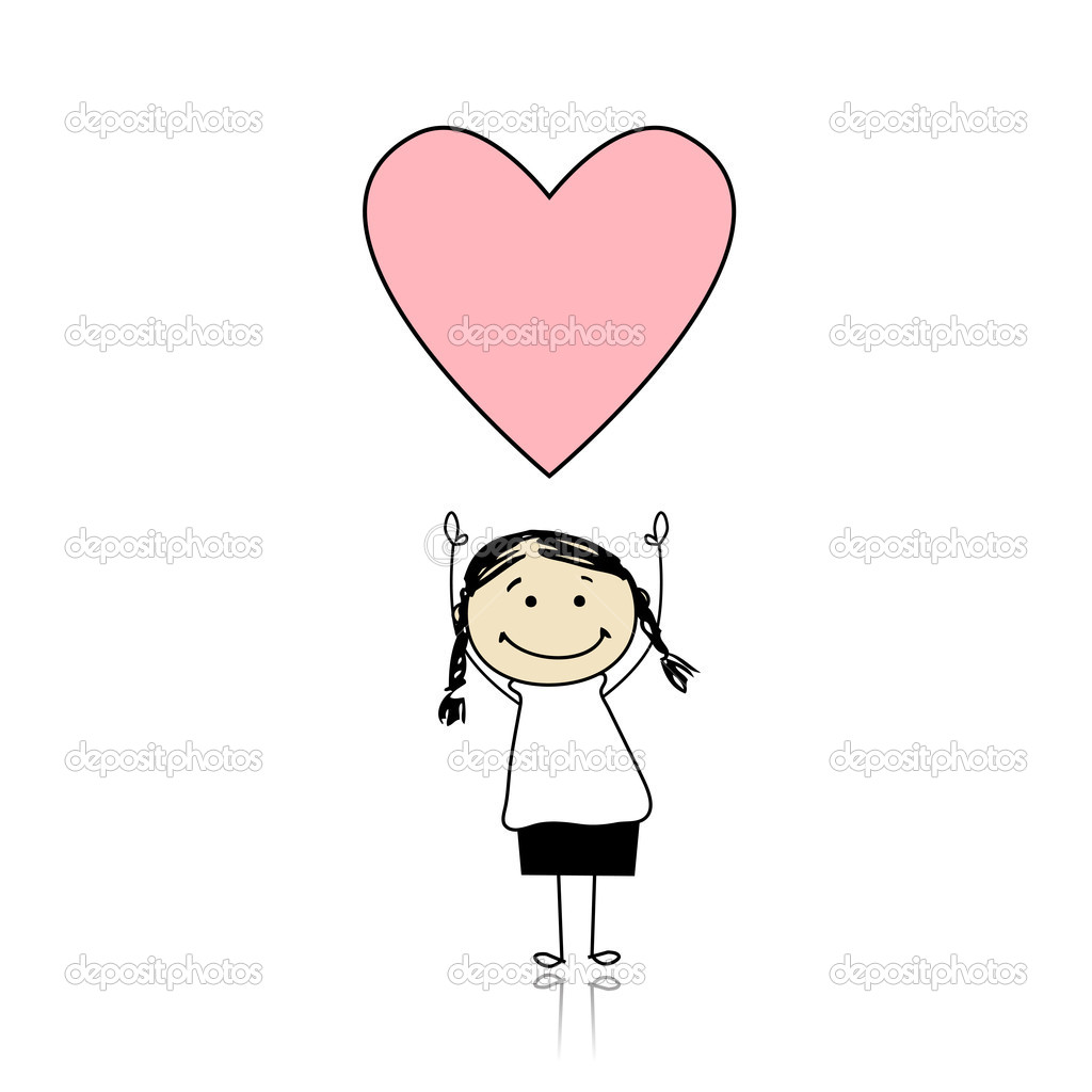 Saint valentine day - cute girl holding heart  Stock Vector #4642927