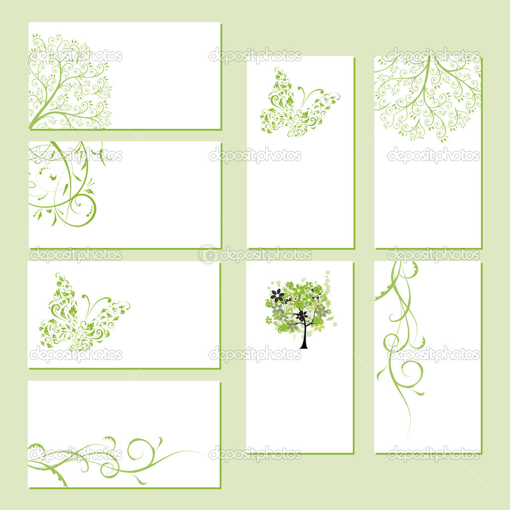 Set of business cards, floral ornament for your design  — Stock Vector #4642937