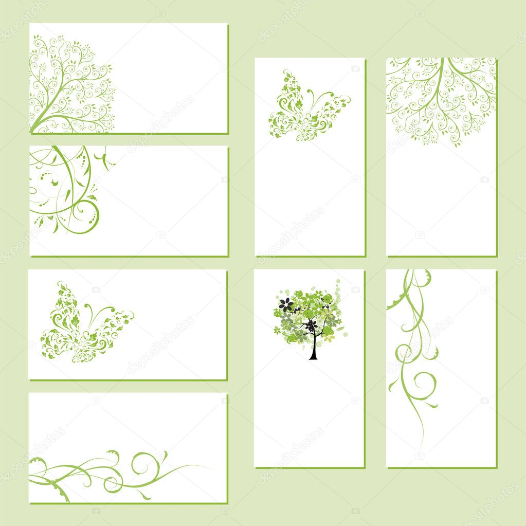 Set of business cards, floral ornament for your design  — ベクター素材ストック #4642937