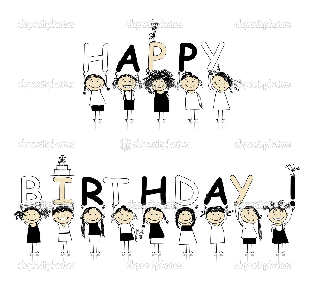 Happy birthday from beautiful smiling girls stock illustration