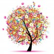 Happy holiday, funny tree with balloons — Vector de stock