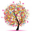 Happy holiday, funny tree with balloons — Stock vektor