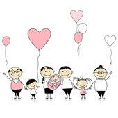 Happy birthday, big family with children, newborn baby — Stock Vector