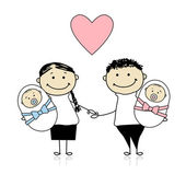 Happy parents with newborn twins — Stock Vector