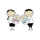 Happy parents with newborn twins — Stock Vector