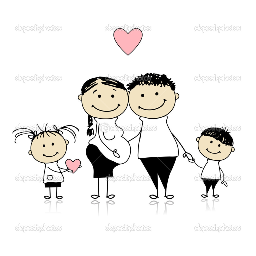 Happy parents with children waiting for newbaby, pregnancy — Stock Vector #4803070