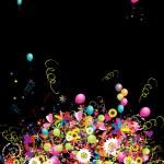 lycklig semester, roliga bakgrund med ballonger för din design — Stockvektor