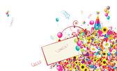 Joyeuses fêtes, fond drôle avec des ballons pour votre conception — Vecteur