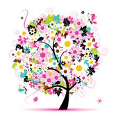 Summer floral tree for your design — Stock Vector