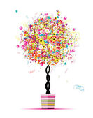 Happy holiday, funny tree with balloons in pot for your design — Stock Vector