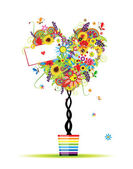 Summer floral tree, heart shape in pot for your design — Wektor stockowy